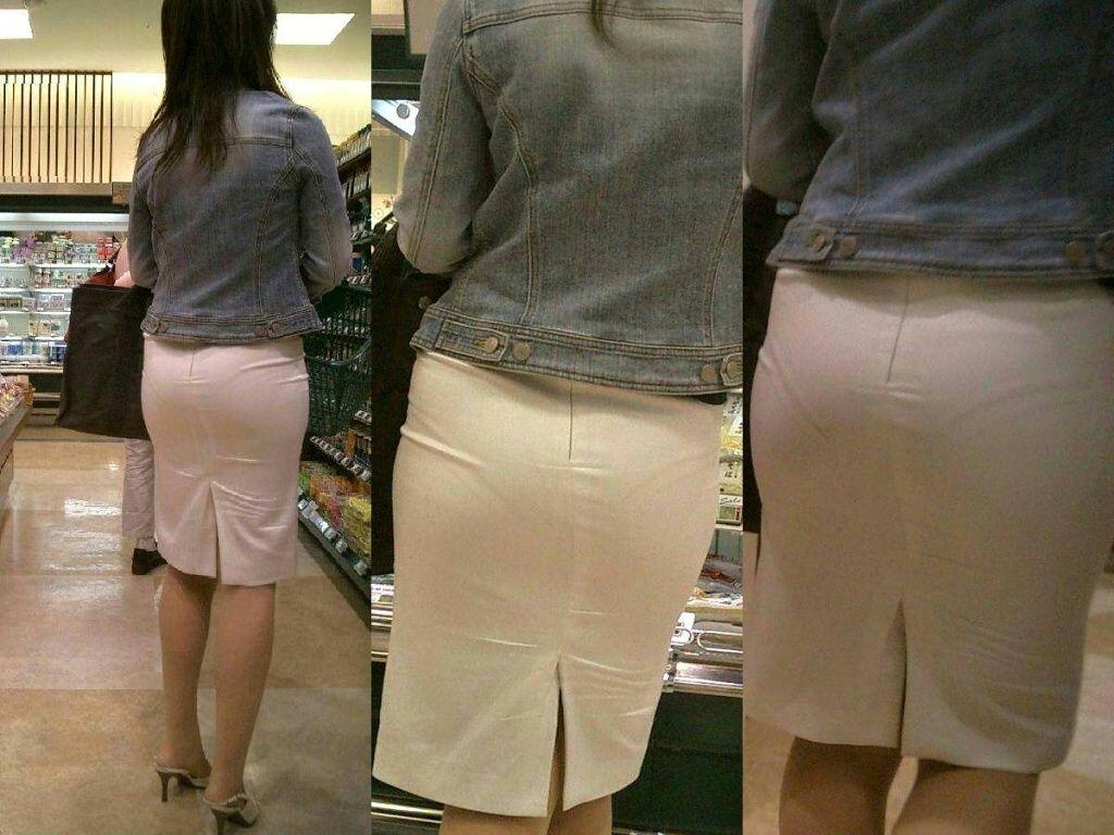 透けパンしてるタイトスカート姿の女性 (11)