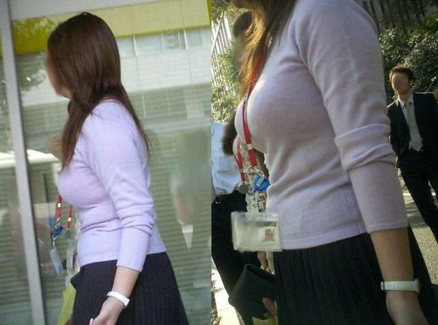 着衣巨乳に視線が集まる素人女子 (15)