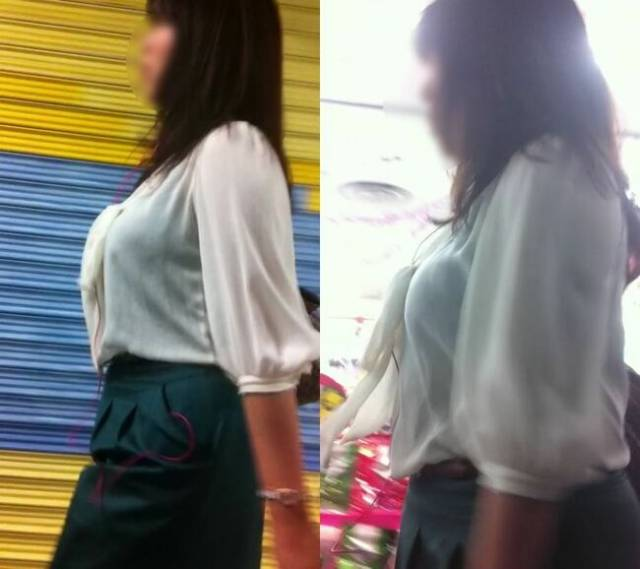 着衣巨乳に視線が集まる素人女子 (14)