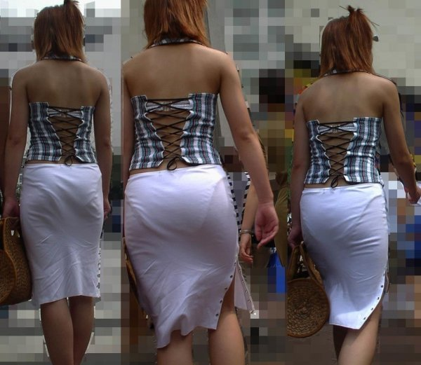 タイトスカートから透けパン (11)