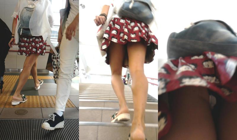 階段でパンチラしてる素人女子 (19)