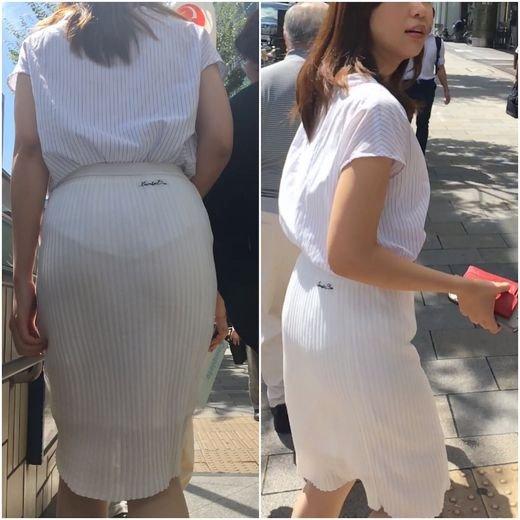薄手のスカートで透けパン (10)