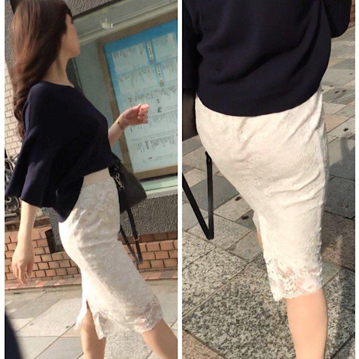 薄手のスカートで透けパン (4)